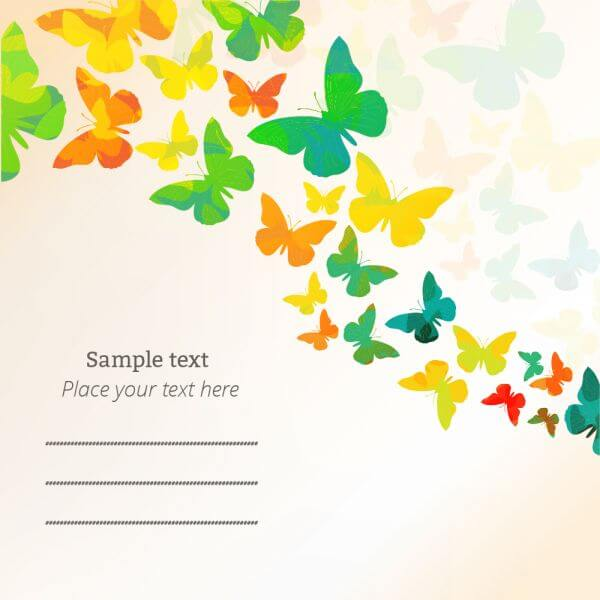Spring illustration with butterflies vector