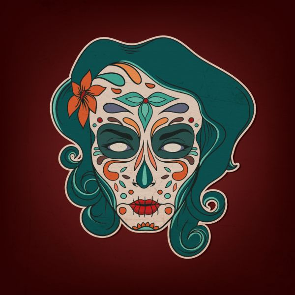 Day of the dead girl with flowers vector