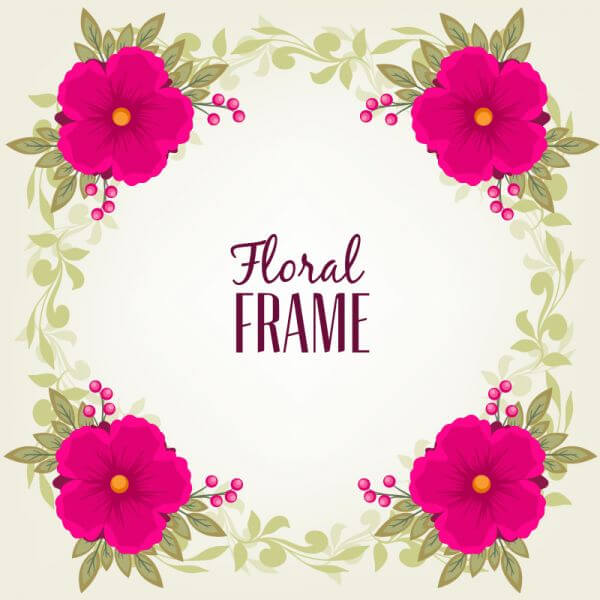 Vintage frame with flower and leaves vector