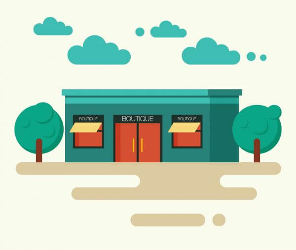 Fashion boutique and trees. vector