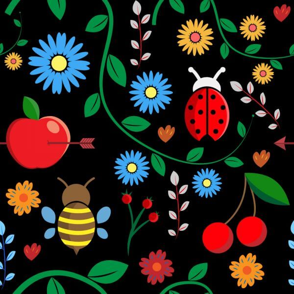 Pattern with leaves, berries, bugs, flowers, apple, branches vector