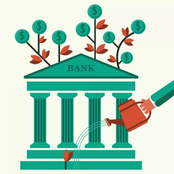 Hand watering a money plant and bank building vector