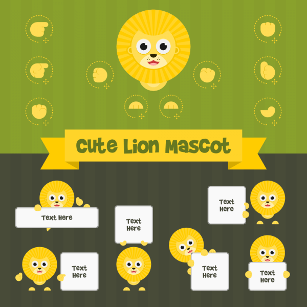Cute Lion Mascot Kit vector