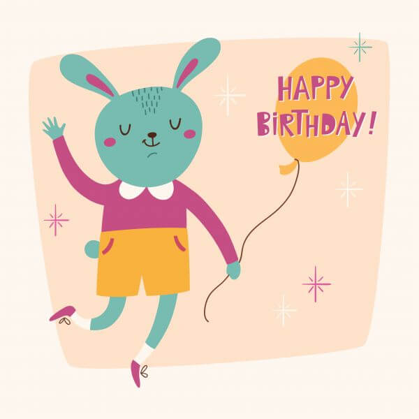 Happy Birthday card with cute bunny vector