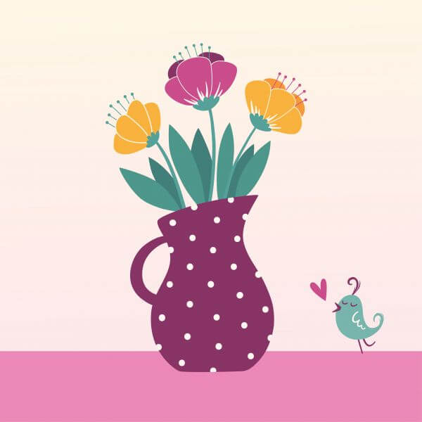 Vector illustration of jug with flowers vector