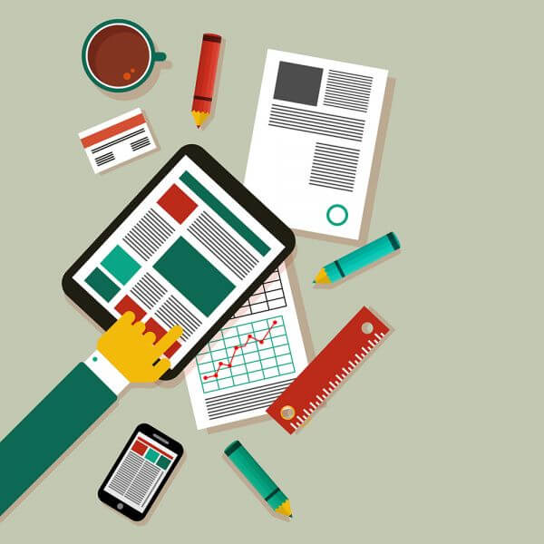 Desk with tablet and tools vector