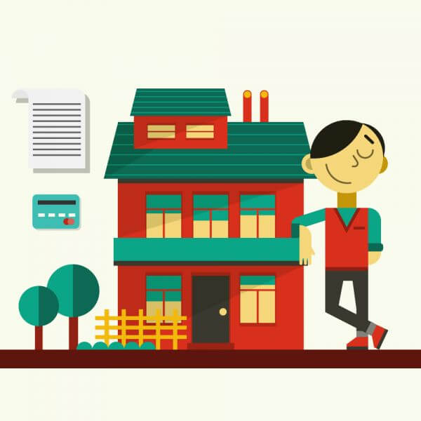 Happy guy standing near his house vector