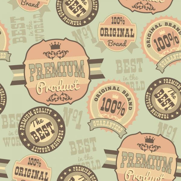 Seamless pattern with retro vintage badges vector