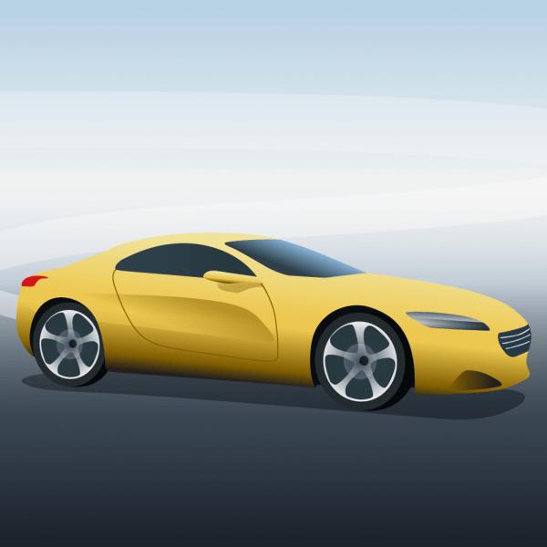 Vector illustration Yellow sports car vector