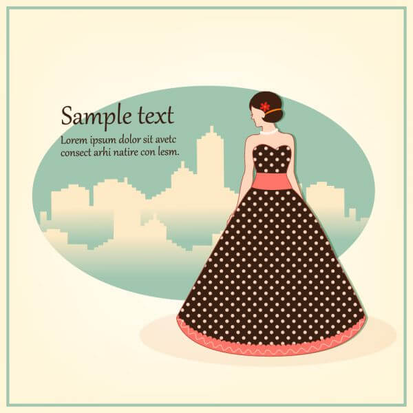 Fashion vector illustration with girl vector