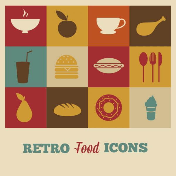 Set of retro food icons vector