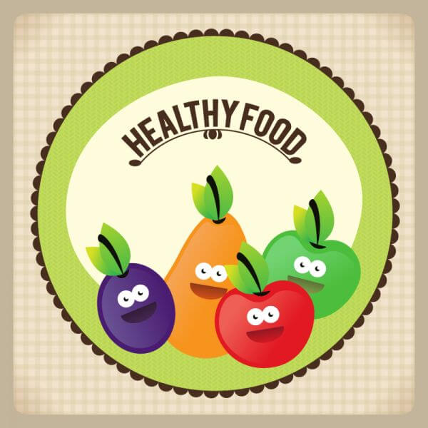 Healthy food illustration with fruits vector