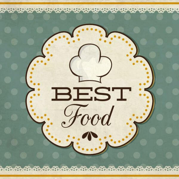 Food label on retro background vector