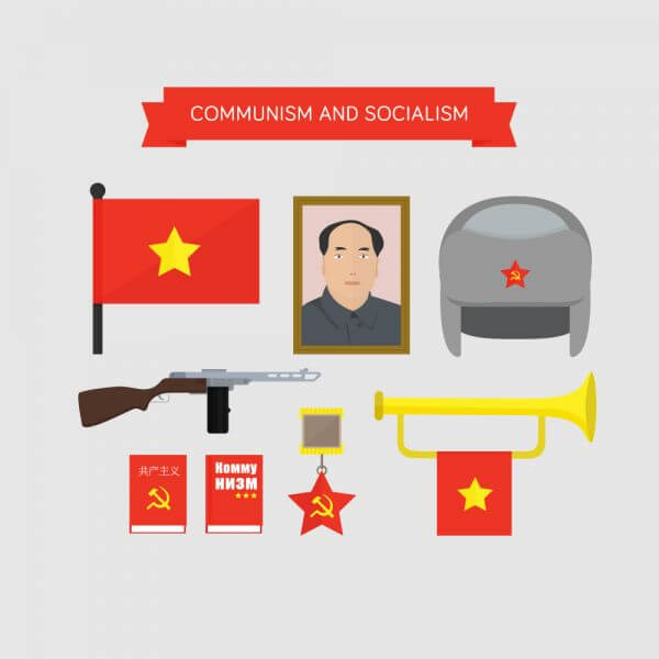Communism and socialism icons vector