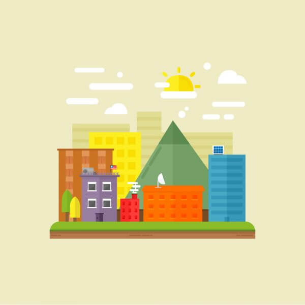 Urban scene illustration vector