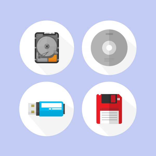 Digital storage devices icons vector