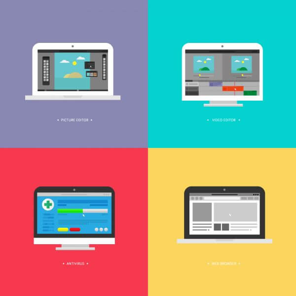 Computer Screens Running Programs (Picture Editor, Video Editor,Web Browser and Antivirus) vector