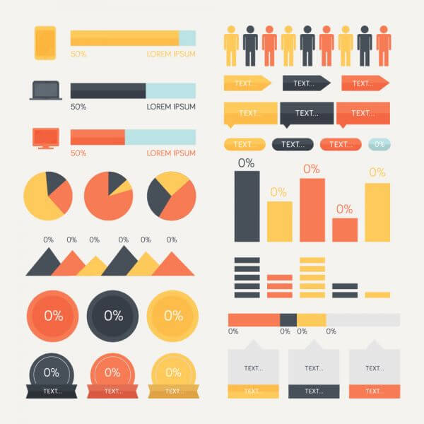 Elements for a technology themed infographic vector
