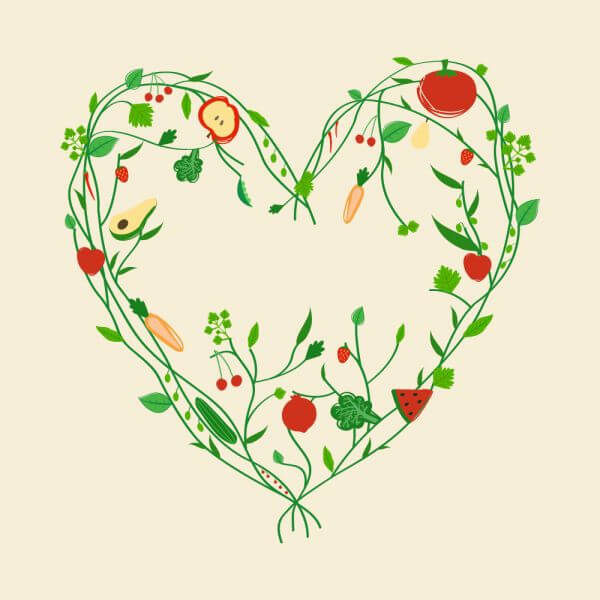 Decoration with vegetables and fruits vector
