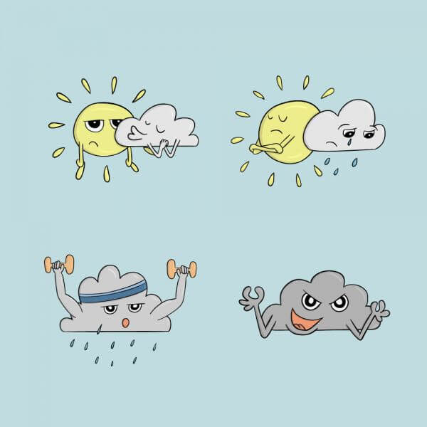 Weather Comic Icons vector