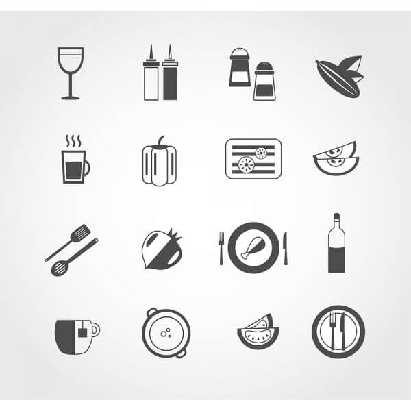 Food free vector mono color set. Icons for design vector