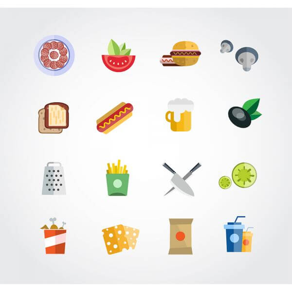 Food free vector set. Icons for design vector