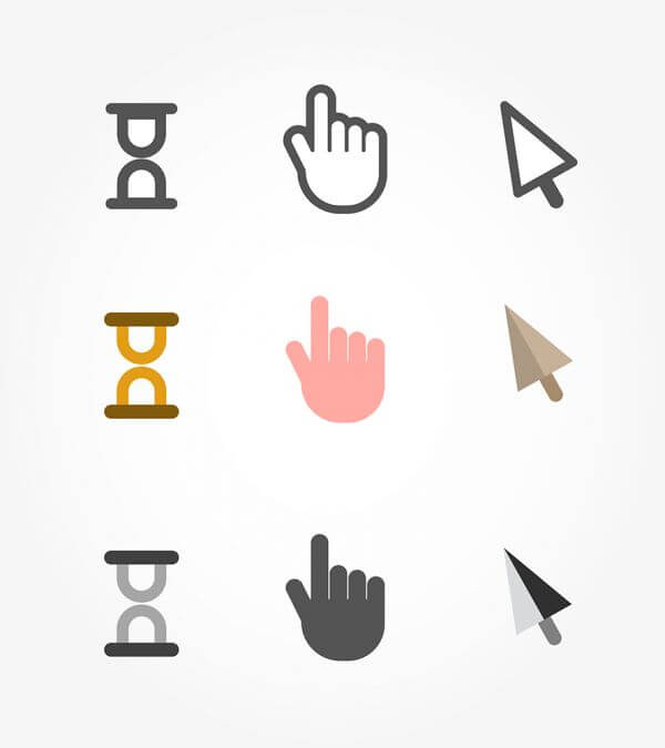 Vector free cursors black clean icons - hand, clock and arrow vector