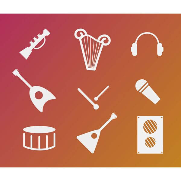 Vector free music instruments icons set for design vector