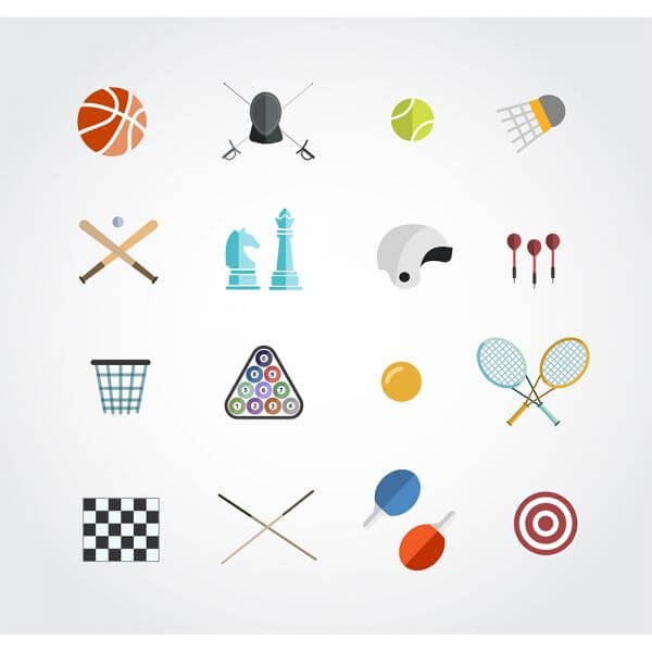 Sport free vector icons set for web. Free design vector
