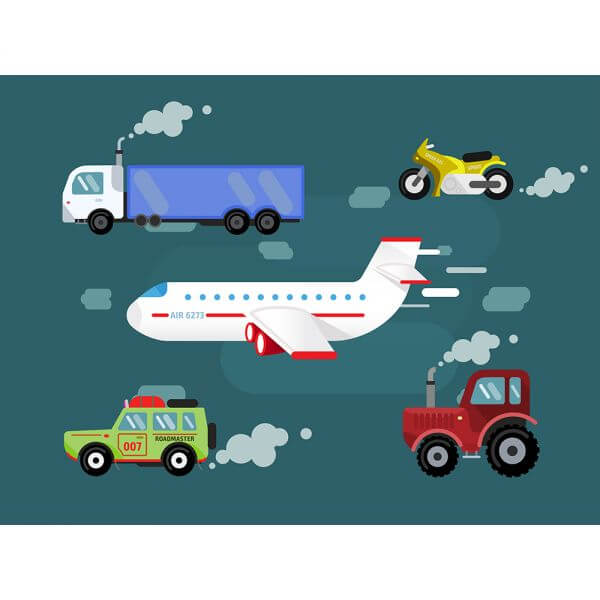 Vector set transport for free design. Cer, truck, airplane, bike vector