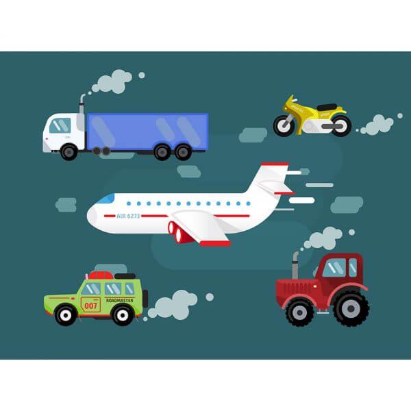 Vector set transport for free design. Cer, truck, airplane, bike vector