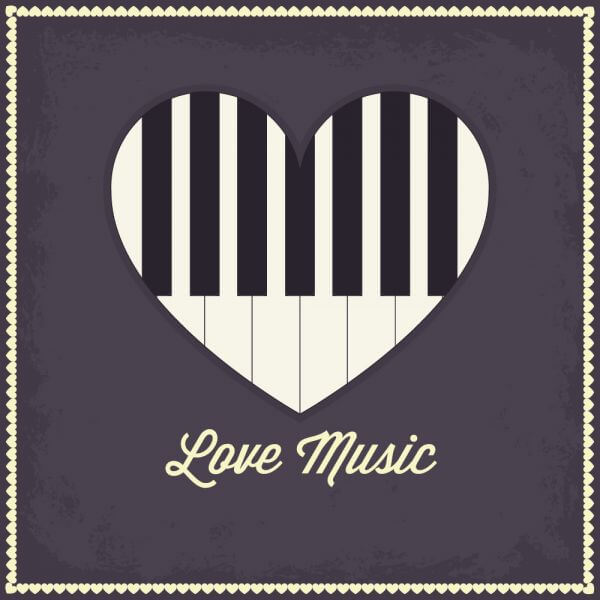 Music illustration with heart and piano keyboard vector