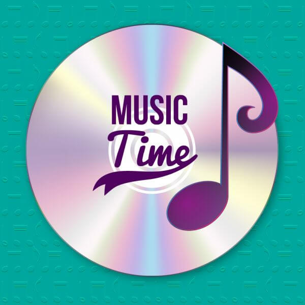 Music illustration with CD and musical notes vector