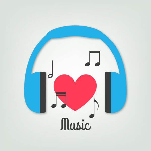 Music illustration with headphones and heart vector