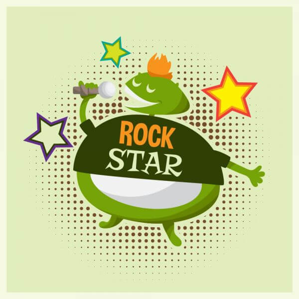 Music illustration with cute rock monster vector