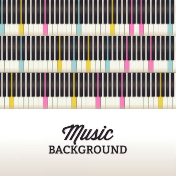 Music illustration with piano keyboard vector