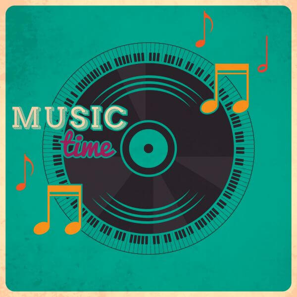 Music illustration with vinyl disk and typography vector