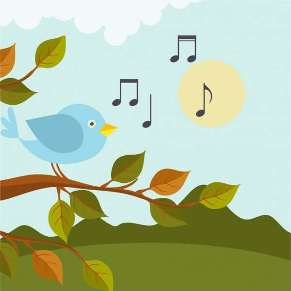 Music illustration with bird  vector