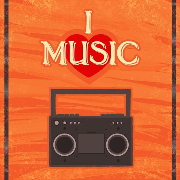 Music illustration with radion and typography vector
