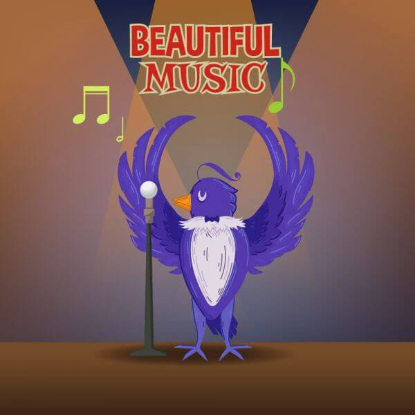 Music illustration with cute bird and typography vector