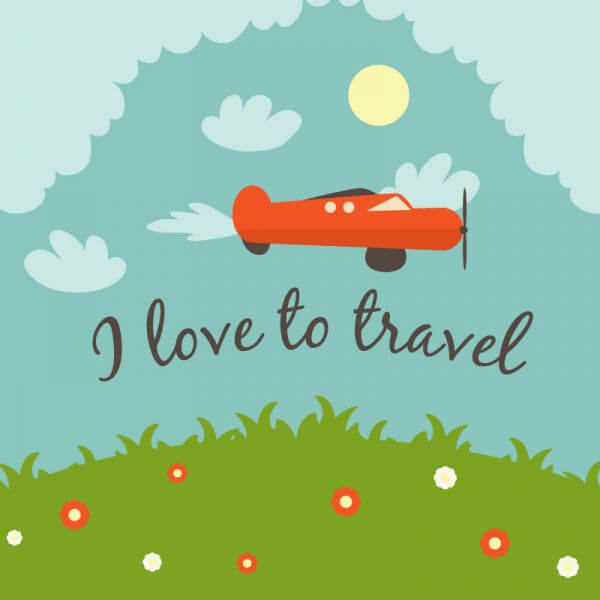 Doodle landscape with airplane and typography vector