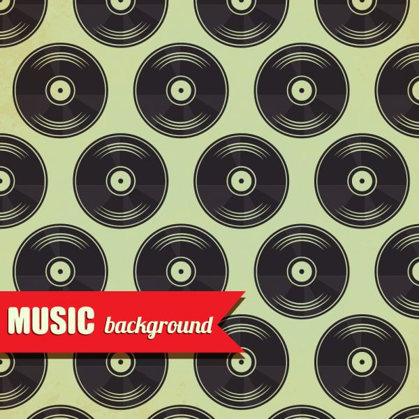 Music pattern with vinyl disk vector