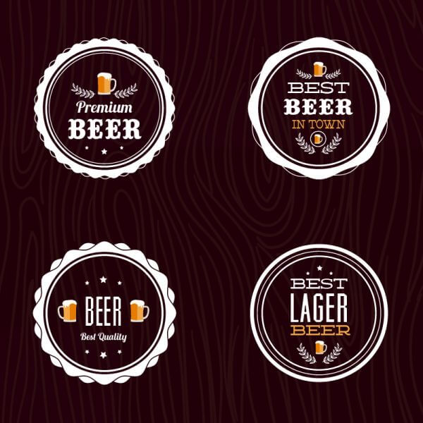 Set of retro styled beer labels vector