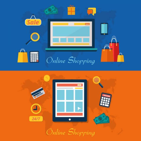 Set of flat design vector illustration concepts of online shopping vector