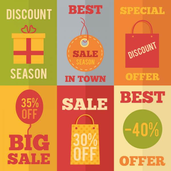 Sale flat concept design icons, shopping vector