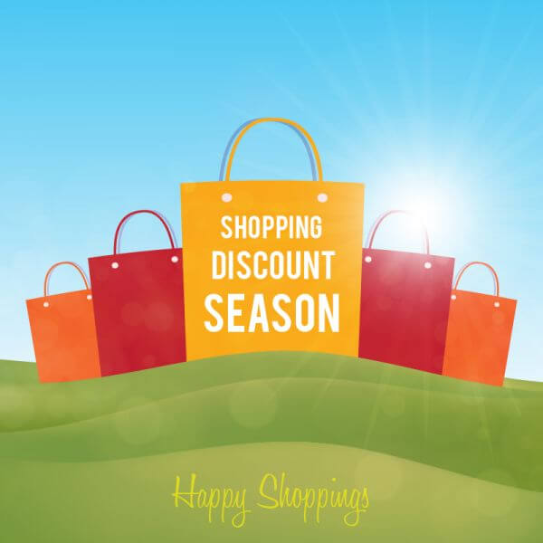 Shopping paper bags on green landscape vector