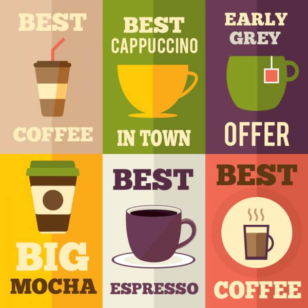 Coffee flat design set of illustrations vector