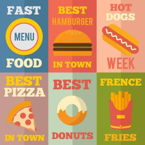 Retro Fast Food Illustrations, Flat Design Concept vector