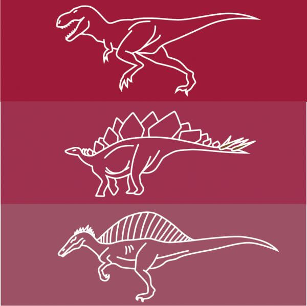 Dinosaur line drawing icons vector
