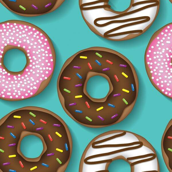 Doughnut repeating pattern vector